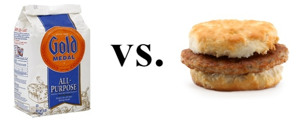 flour and a sausage biscuit
